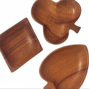 VTG Teak Playing Card Wood Bowls (3)